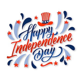 Hand drawn 4th of july - independence day lettering