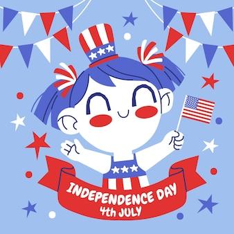 Рисованной 4 июля - набор баннеров день независимости Бесплатные векторы