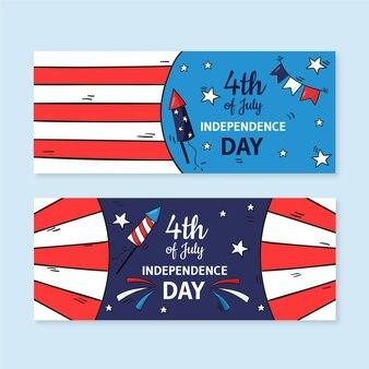 7月4日手描き-独立記念日のバナーセット