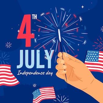7月独立記念日のイラストの手描き4日