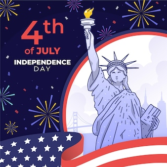 손으로 그린 7 월 독립 기념일 그림의 4