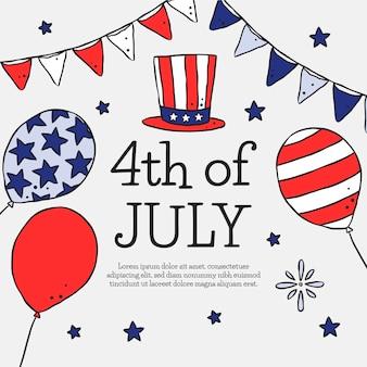 Нарисованная рукой иллюстрация дня независимости 4 июля