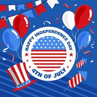 Нарисованная рукой 4 июля - иллюстрация дня независимости Бесплатные векторы
