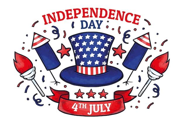 손으로 그린 7 월 4 일-독립 기념일 그림