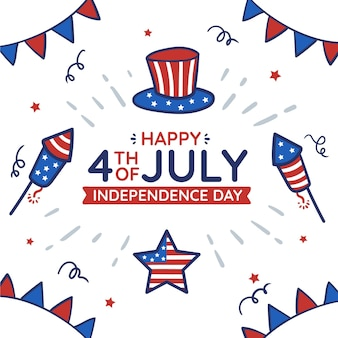 Нарисованная рукой 4 июля - иллюстрация дня независимости