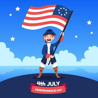 7月4日手描き-独立記念日のイラスト