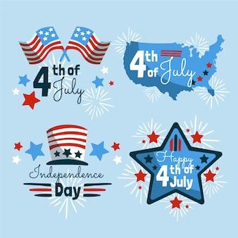 7月4日手描き-独立記念日ラベルコレクション
