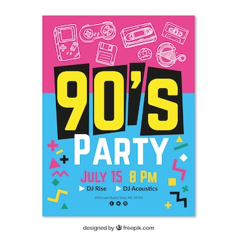 Hand drawn 90's party poster template