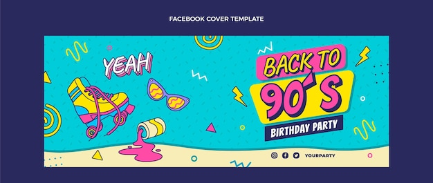 Copertina facebook di compleanno anni '90 disegnata a mano