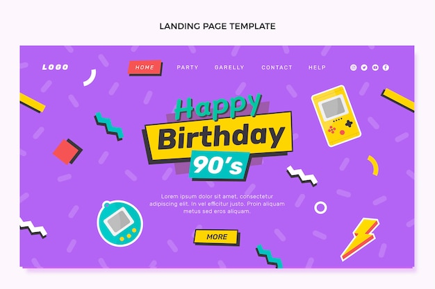 Hand drawn 90s birthday landing page template