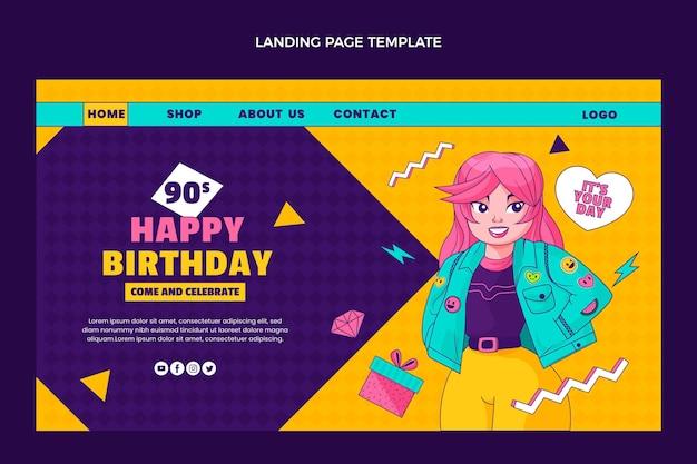 Modello di pagina di destinazione per il compleanno degli anni '90 disegnato a mano