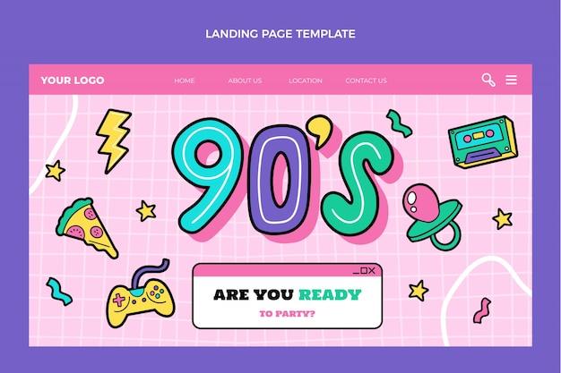Pagina di destinazione per il compleanno degli anni '90 disegnata a mano