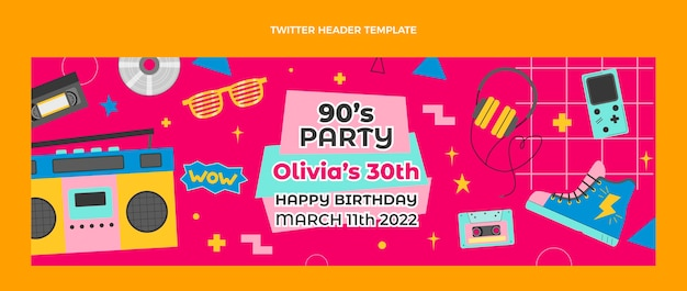 Hand drawn 90s birthday twitter header (cover)