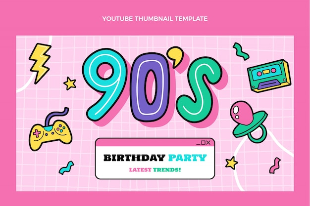 手描きの90年代の誕生日のyoutubeサムネイル