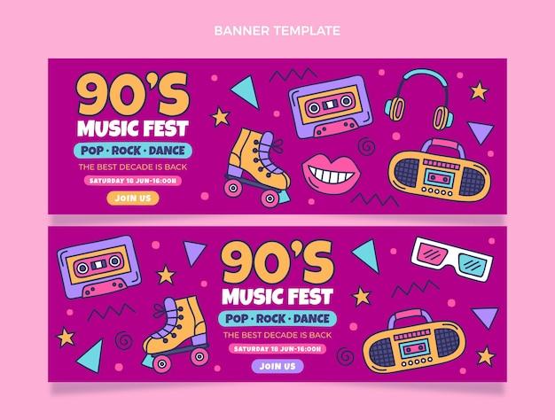 Hand drawn 90s music festival horizontal banners
