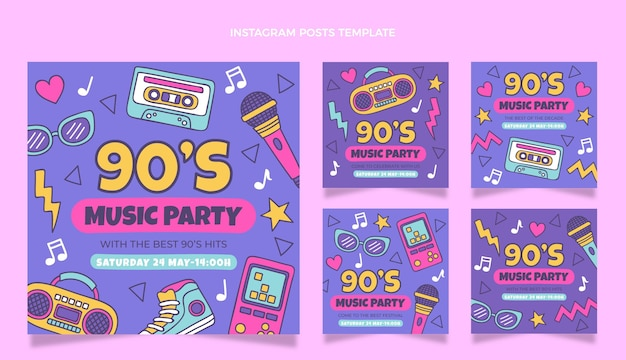 Hand drawn 90s music festival instagram post