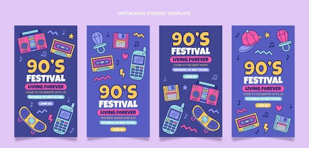 손으로 그린 90년대 음악 축제 인스타그램 스토리