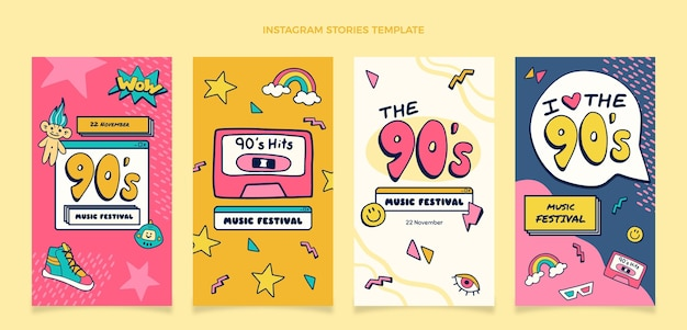 Hand drawn 90s music festival instagram stories