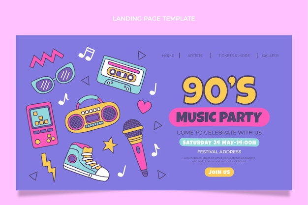 Hand drawn 90s music festival landing page