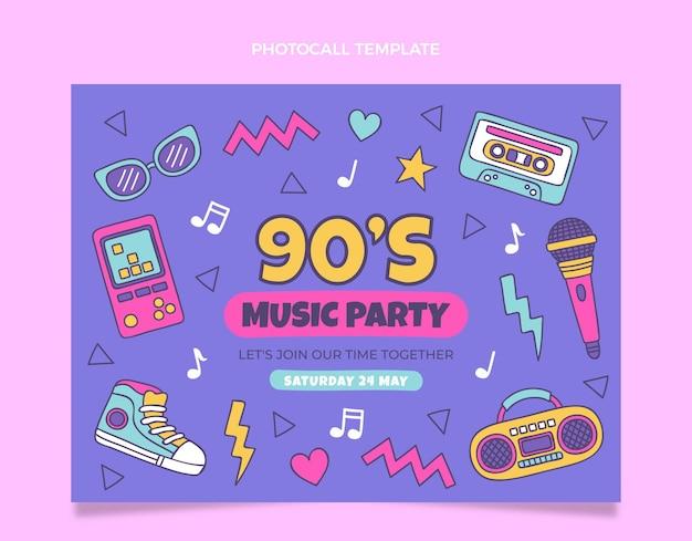 手描きの90年代の音楽祭フォトコール