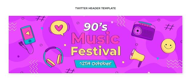 Hand drawn 90s music festival twitter header