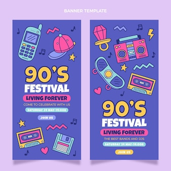 Hand drawn 90s music festival vertical banners