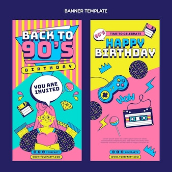 Banner di compleanno nostalgici anni '90 disegnati a mano