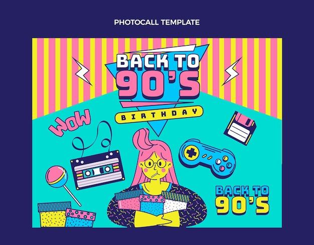 Рисованная ностальгическая этикетка / значки на день рождения 90-х (x4)