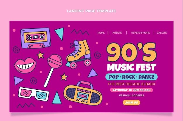 손으로 그린 90년대 향수를 불러일으키는 음악 축제 방문 페이지
