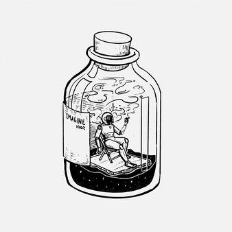 手描きのボトルイラストで喫煙男性