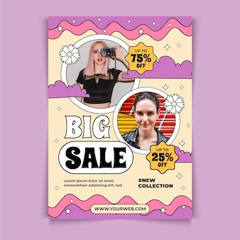 Hand drawn a5 flyer template