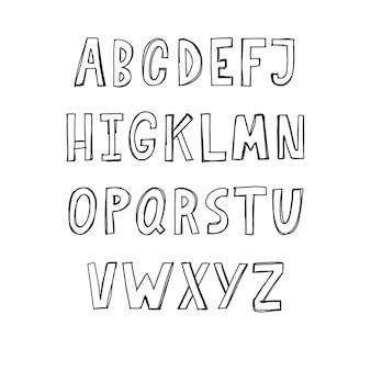 손으로 그린 abc 글꼴 알파벳