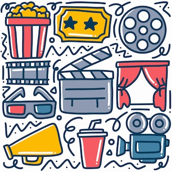 Hand drawn about cinema doodle set with icons and design elements