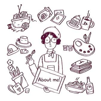 Нарисованная от руки концепция обо мне с хобби и интересами