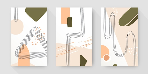 Hand drawn abstract art cover collection