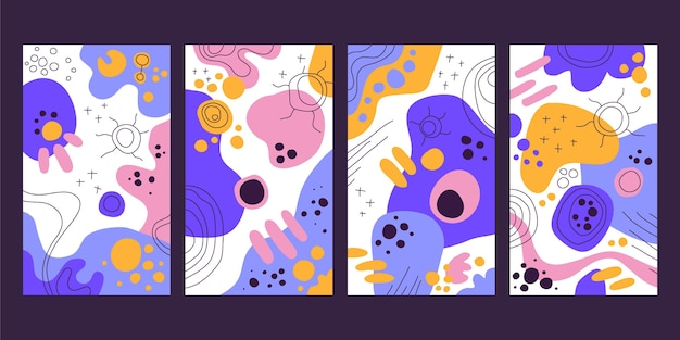 Hand drawn abstract art cover set