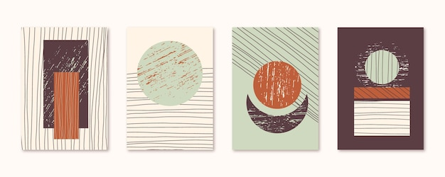 Hand drawn abstract art covers collection