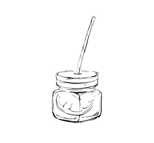 Hand drawn abstract artistic cooking ink sketch illustration