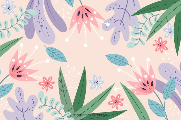 Hand drawn abstract background with leaves and flowers