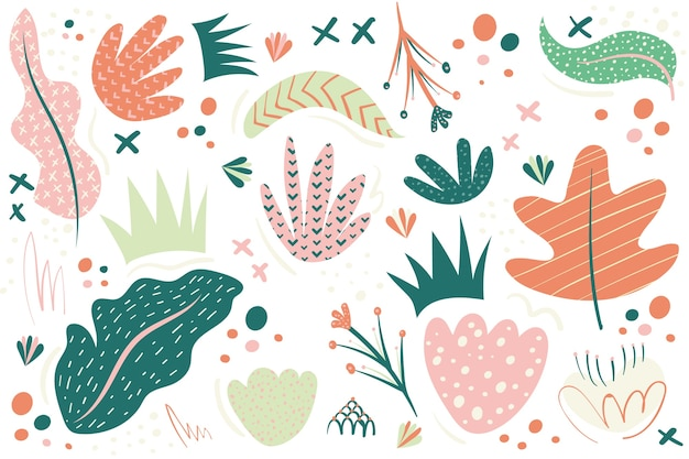 Hand drawn abstract background with organic shapes