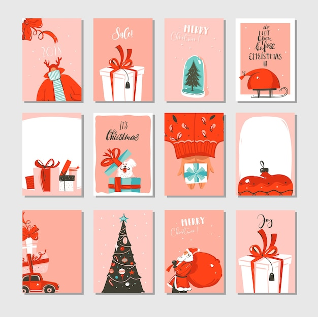Hand drawn abstract big merry christmas time and new year cartoon cards collection set
