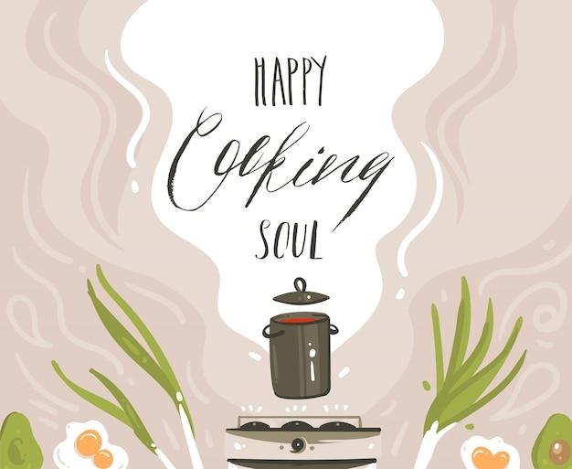 手描き下ろし抽象的な漫画料理クラスのイラストポスターフードシーン、スープ鍋、野菜、白い背景に分離された手書きの現代書道を調理する幸せな魂の準備。