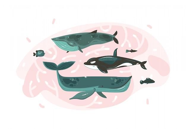 Ручной обращается абстрактный мультфильм графика летнее время подводных иллюстраций набор с коралловыми рифами и красотой больших китов символов, изолированных на белом фоне