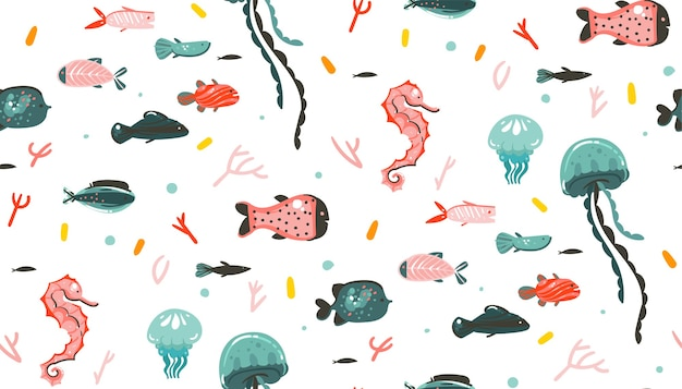 Hand drawn abstract cartoon graphic summer time underwater illustrations seamless pattern with coral reefs,jellyfish isolated on white background.