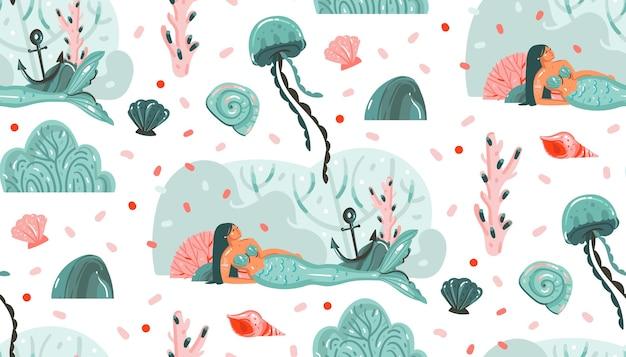 手描きの抽象的な漫画グラフィック夏時間水中イラストクラゲ、魚、人魚の女の子キャラクターが白い背景で隔離のシームレスパターン。