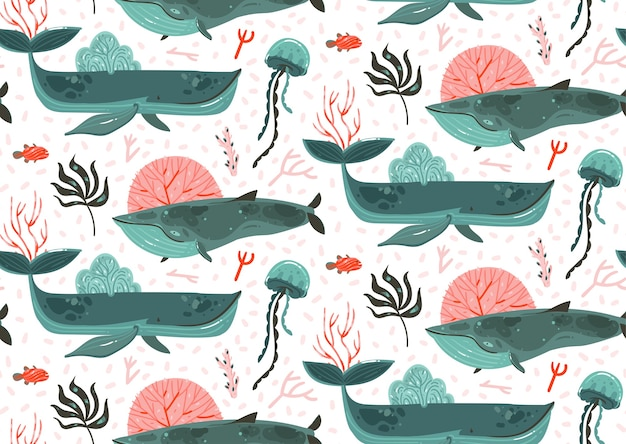 手描き抽象漫画グラフィック夏時間水中海底イラストシームレスパターンのサンゴ礁、美クジラ、白い背景で隔離の海藻。