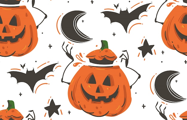 Hand drawn  abstract cartoon happy halloween illustrations seamless pattern with bats,pumpkins,moon and stars  on white background.