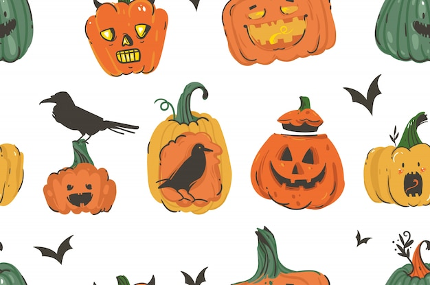 Hand drawn  abstract cartoon happy halloween illustrations seamless pattern with pumpkins emoji horned lanterns monsters,bats and ravens  on white background.