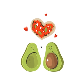 Hand drawn  abstract cartoon happy valentines day concept illustrations card with avocado couple and pizzaheart shape  on white background