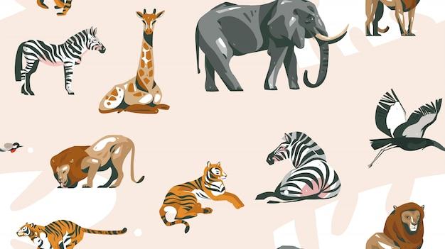 パステルカラーの背景にサファリ動物と手描き抽象漫画現代アフリカサファリコラージュイラストアートシームレスパターン
